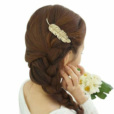 Women Girls Metal Feather Shape Hair Clip Crystal Hairpin Party Donne Copricapo