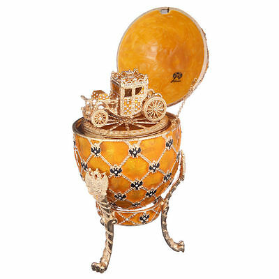 Decorative Faberge Egg Trinket Box Russian Coat of Arms & Carriage 7.1'' yellow