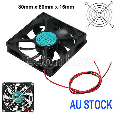 12V 2pin Computer Silent Cooling Fan 80mm x 80mm x 15mm Black PC Brushless Case