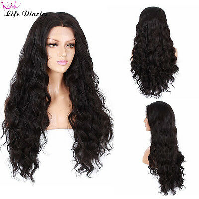 250%Density Fashion Long Nature Wave Glueless Lace Front Synthetic Wig for Women