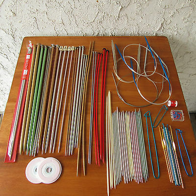 Vintage Knitting Needle Crochet Hook Lot Stitch Markers Holders Circular DPNs