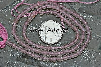 "Soft Pink Rose Quartz Faceted Rondelle Beads 3.5-4mm 13.75"" Strand 7g/35cts"