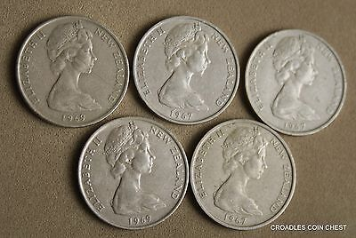 "GROUP OF 5 NEW ZEALAND 10 cent ""SHILLINGS"" CIRCULATED DECIMAL COINS  #N588"