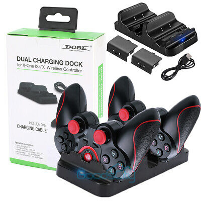 Xbox One Charger Dual Dock Charging Station 2 Rechargeable Batteries Controller