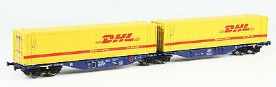 Hobbytrain H70508 Sggmrs 90 Containertragwagen mit 2x45' Container DHL Ep.VI