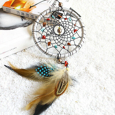 Silver Feather Handmade Dream Catcher Car Wall Door Hanging Decoration Ornaments