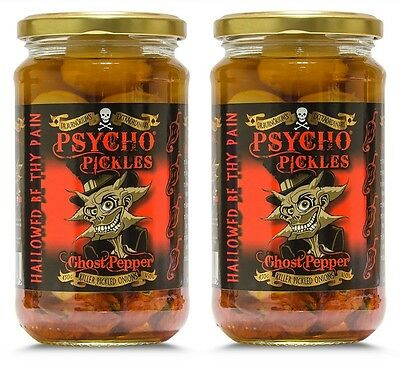 Dr Burnorium Set Of 2 450g Jars Psycho Pickled Onions & Ghost Chilli Peppers
