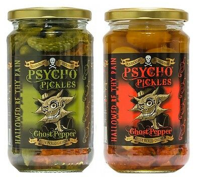 Dr Burnorium Psycho Pickles Combo Gherkins & Pickled Onions Ghost Chilli Peppers