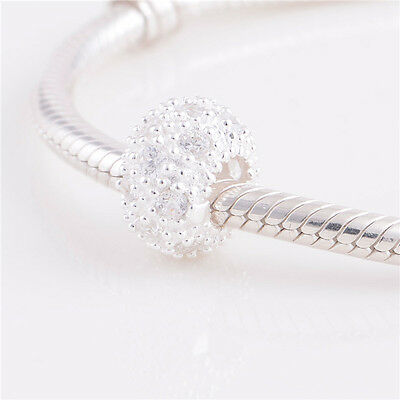 GENUINE Authentic 925 Solid STERLING SILVER CZ Encrusted CHARM BEAD FOR BRACELET