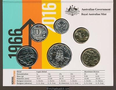2016. Australia 50th Anniversary Changeover Coins Set  Folder Unc Uncirculated.