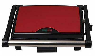 Stainless Steel 3 Slice Panini Sandwich Press & Health Grill Maker Drip Tray Red