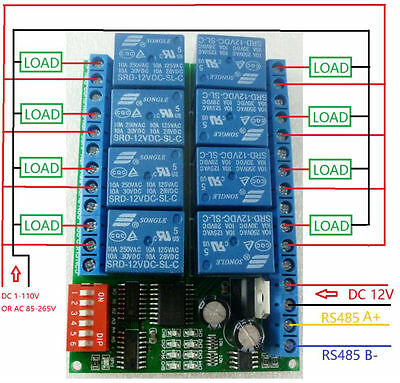 8 channel 12V Modbus RTU RS485 Relay Module Switch Board F PLC Lamp LED Camera