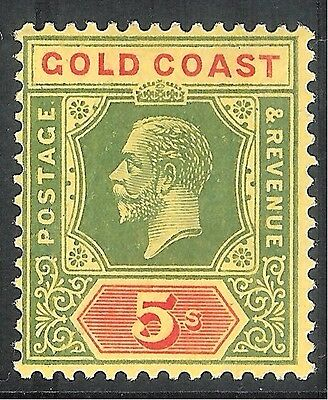 Gold Coast 1921 green/red on pale-yellow 5/- Die II mint SG98