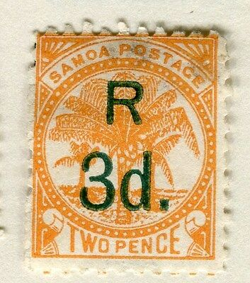 SAMOA;  1895 early classic surcharge issue ' R 3d. ' Mint hinged