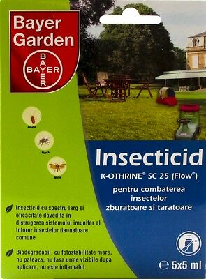 Bayer Insecticides K-otrine SC 25, 5vialsx5ml kill insects