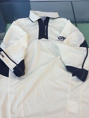 Men's Gunn & Moore Worn Once White Cricket Top, Size Small
