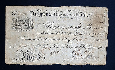 1810 DARTMOUTH GENERAL BANK £5 BANKNOTE * B 1400 * G * Outing 639b *