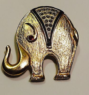 VINTAGE BROOCH Rhinestone ELEPHANT Gold Tone UNIQUE Shape Trunk UP