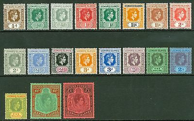 SG 95-114b Leeward Islands set of 19. ¼d-£1. Very fine fresh mint CAT £200