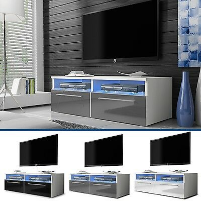 TV Stand Cabinet Lowboard Entertainment Media Unit High - Gloss Siena FREE LED