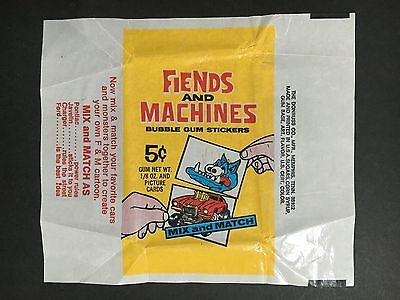 Fiends & Machines Trading Card Sticker Wrapper By Donruss