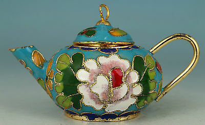 Noble Chinese Blue Cloisonne Handmade Carved Flower Statue Tea pot