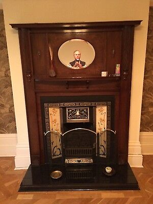 1930's art deco oringal oak fire surround and cast iron insert