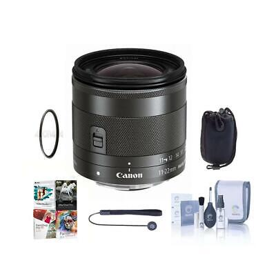 Canon EF-M 11-22mm f/4-5.6 IS STM Lens with Free Basic Accessory Bundle (PC)