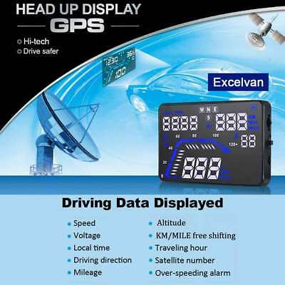 Universal GPS Car HUD Head Up Display Speed Warning Fuel OBD II 2 Speedometer