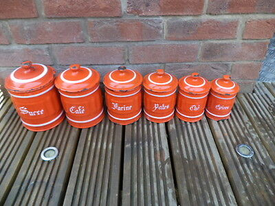 Set Of 6 French Vintage Enamel  Caddies Canisters Sugar, Coffee & Tea