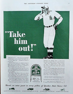 1929 ORIG. PRINT AD QUAKER STATE MOTOR OIL baseball battle cry Take him Out!