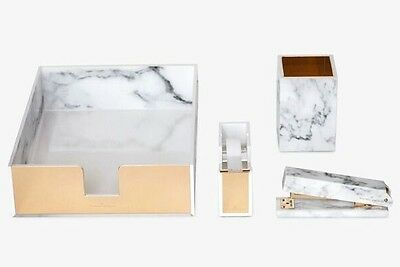 New Rachel George Acrylic White Marble Desk Set : Gold Office Gift Boxed