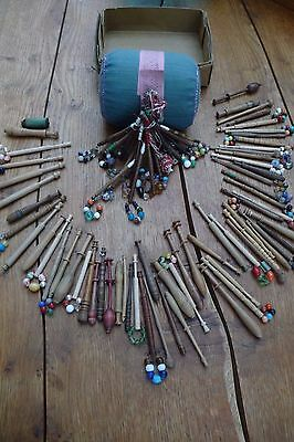 antique/original 76 lace making bobbins complete with lace making cushion