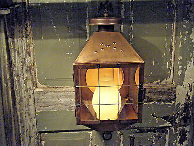 Large Brass Light Fixture Candle Lantern Oil Gas Antique Patina 17 18th century
