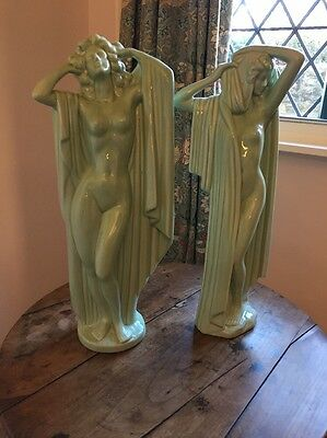 Two Art Deco Ceramic Nude Figures In Mint Green.
