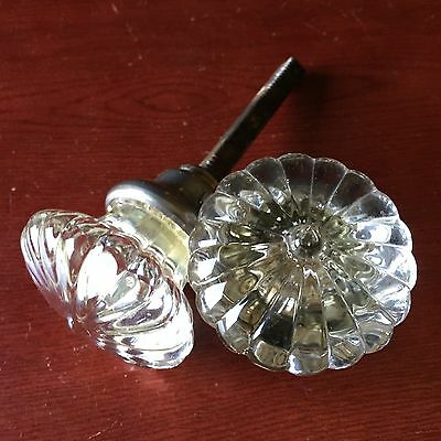 Antique Pair Of Pressed Clear Glass Passage Doorknob Daisy Shape #4