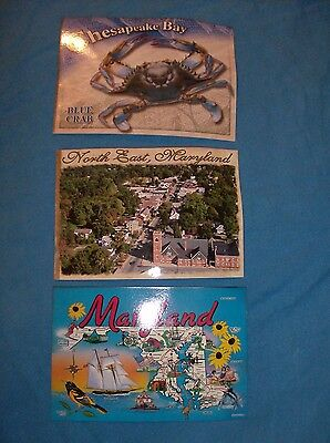 3 Maryland State Map Postcards
