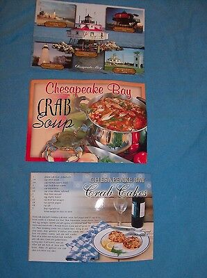 3 Chespeake Bay Lighthouses and Recipes Postcards Maryland