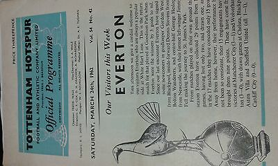Spurs v Everton  March 24th 1962 + free programme,