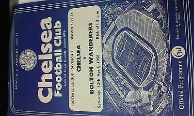 Chelsea v Bolton Wanderers 12th April 1958  + free programme,