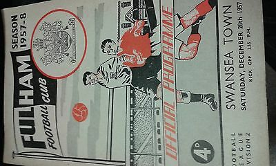 Fulham v Swansea Town Dec 28th 1957  + free   programme,