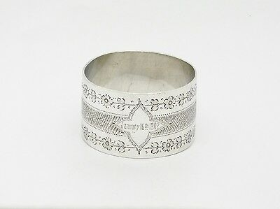BEAUTIFUL ANTIQUE SOLID SILVER NAPKIN RING HM 1896 'January 16th 1902' HEAVY 30G