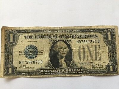 One Dollar Bill 1928B Blue Seal Funnyback Silver Certificate