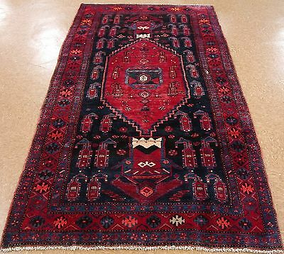 4 x 9 PERSIAN KURDISH KOLIAI Tribal Hand Knotted Wool NAVY RED Oriental Rug
