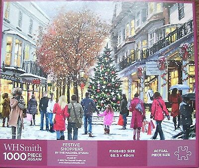 Festive Shoppers Christmas Wintry Scene1000 piece jigsaw puzzle excellent cond