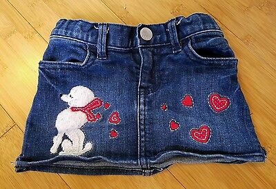 Infant Girls BABY GAP White Poodle Red Hearts Blue Jean Mini Skirt 12-18 months