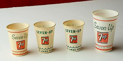 4 --  7 UP Sample Cups-from the 50s -- very good condition