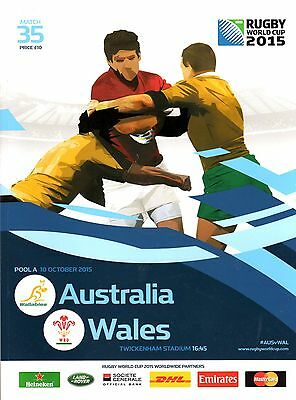 2015 Rugby World Cup programme.  Australia v Wales.