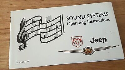Genuine DODGE JEEP CHRYSLER Sound Systems Operating Instructions 81-426-21505