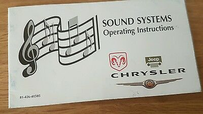 Genuine DODGE JEEP CHRYSLER Sound Systems Operating Instructions 81-426-41505